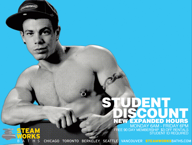 Student discount at Steamworks Baths Seattle